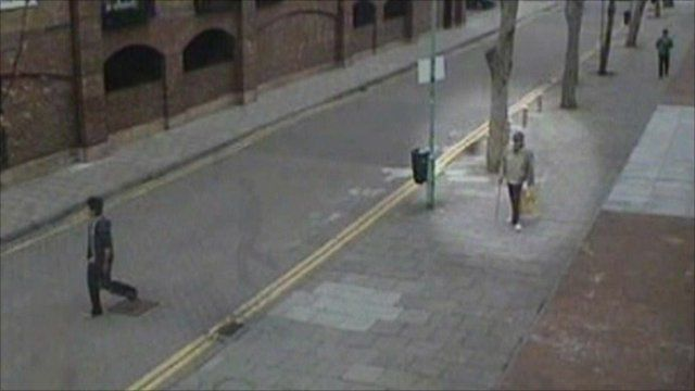 CCTV of Geoffrey Bacon minutes before attack