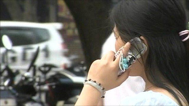 Mobile phone user