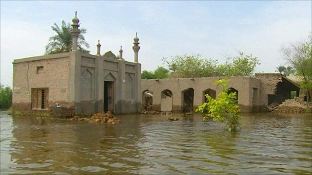 A flooded town in the Punjab province