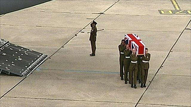 coffin carried from plane