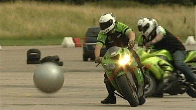 Superbike riders playing stuntbike football