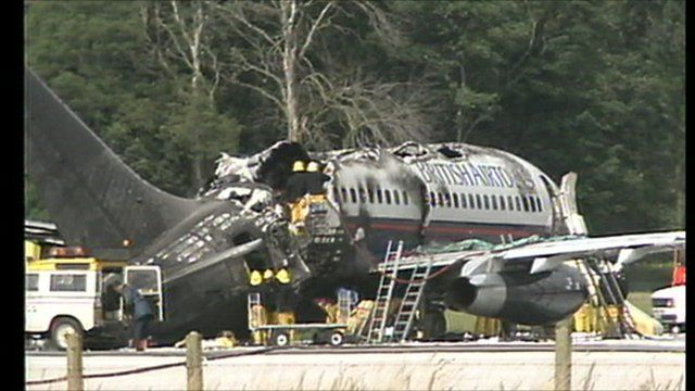 The British Airways plane which caught fire