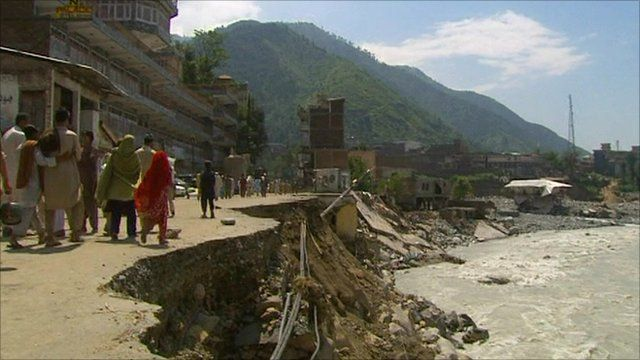 Damaged road next to river in Swat Valley