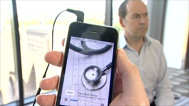 Mobile phone loaded with iStethoscope app