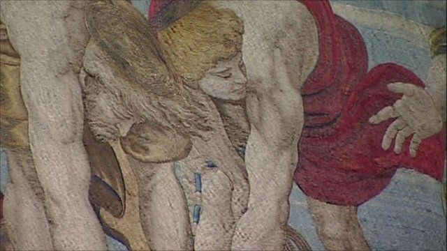 A tapestry designed by Raphael for the Sistine Chapel in Vatican City.