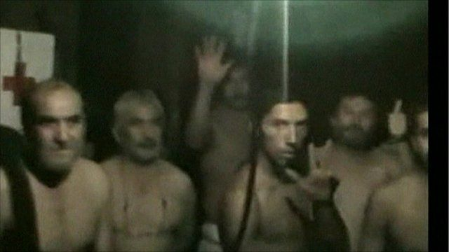 Some of the trapped miners