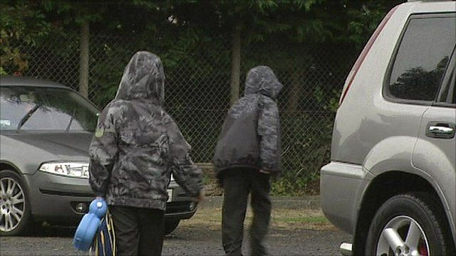 Children arriving at school in Northern Ireland