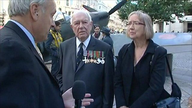 Robert Hall speaks to Wing Commander Bob Foster and Blitz survivor Elizabeth Allen