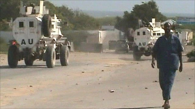 AU vehicles following the bombing