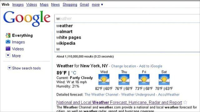 Google screen grab