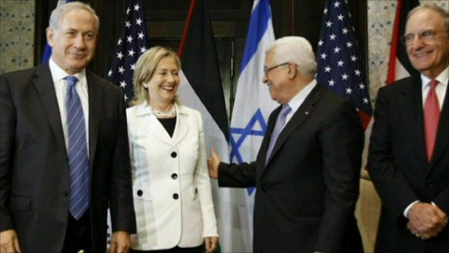 Israeli Prime Minister Benjamin Netanyahu, Hillary Clinton, Palestinian President Mahmoud Abbas and Middles East envoy George Mitchell