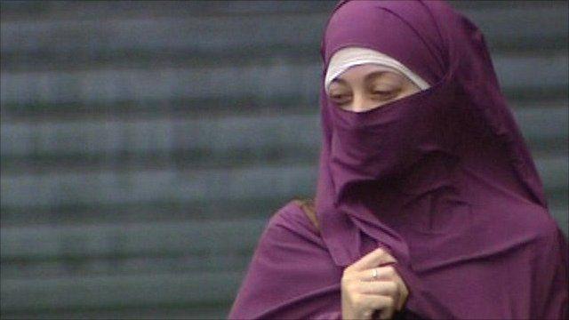 Woman wearing full-face veil