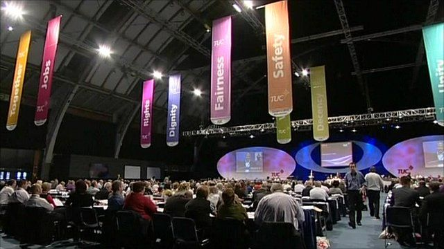 TUC delegates watching stage