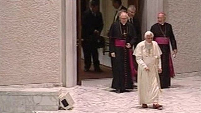 Footage of the Pope and cardinals