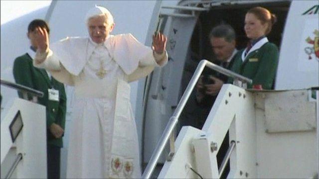 Pope Benedict XVI boards plane