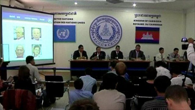 Press conference announcing the indictment of four former Khmer Rouge leaders