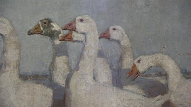 Part of The Goose Girl painting by James Guthrie