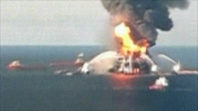 BP Deepwater Horizon blaze