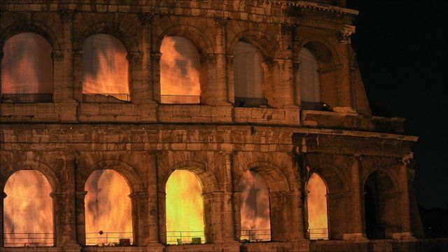 """Video installation """"The Colosseum on Fire"""""""