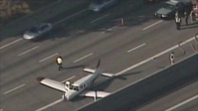 Plane lands on highway