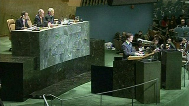 Nick Clegg addressing the UN
