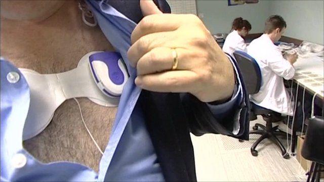 Heart monitor on Rory Cellan-Jones's chest