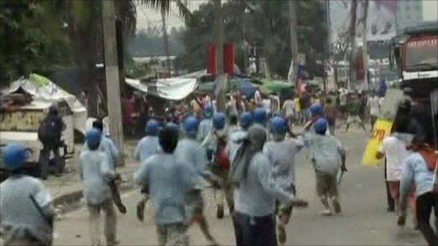 Demolition workers retaliating