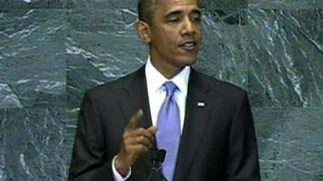 US President Barack Obama addressing the UN General Assembly