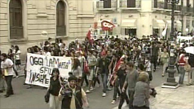 Anti-mafia protest in Italy