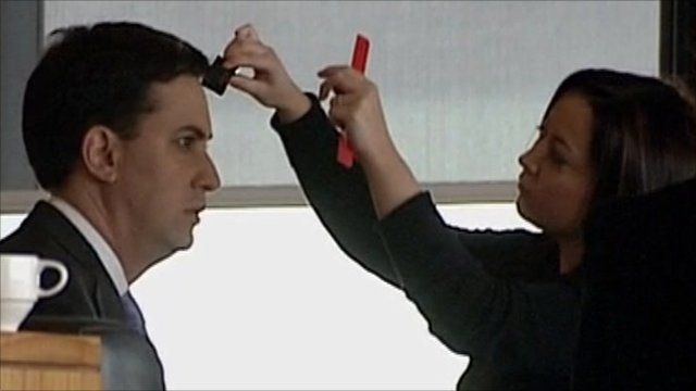 Ed Miliband receives make-up before television appearence