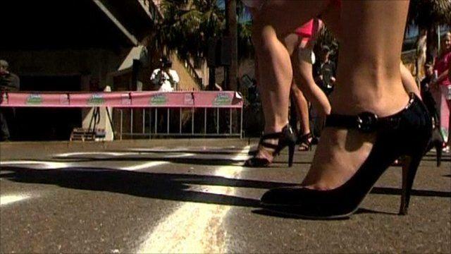 Start line of high heel race
