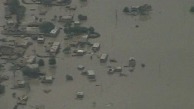 Aerials pictures of floods in Pakistan