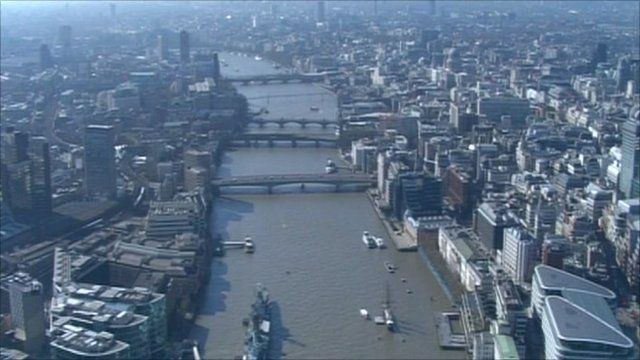 Aerial of London Thames river