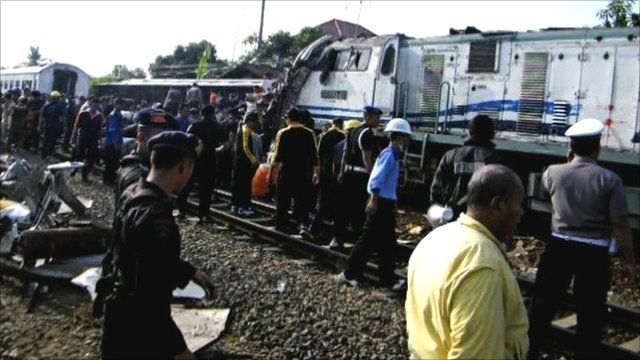The scene of the train crash near Pemalang