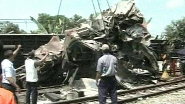 Train wreckage at at Petarukan station