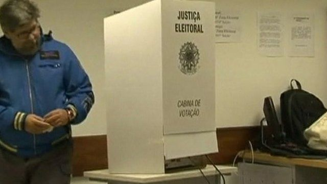 A man votes in the Brazil election