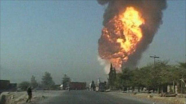 Oil tankers ablaze