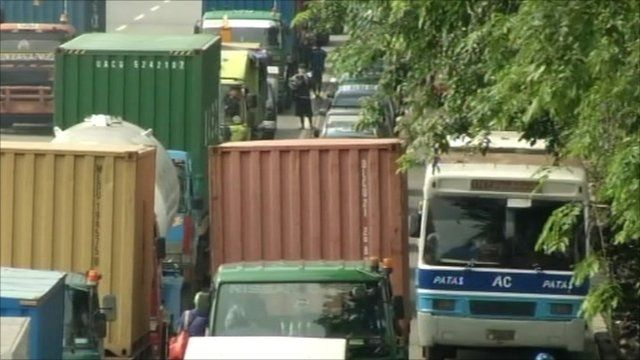 Containers on the road in Indonesia