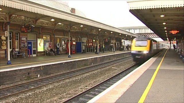 Train coming into railway station