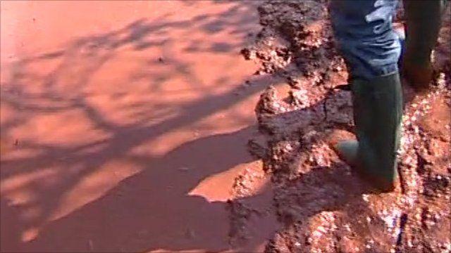 Mud from sludge spill