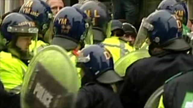 Riot police in Leicester