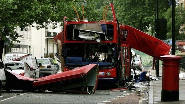 The number 30 double-decker bus that was destroyed by a bomb in Tavistock Square