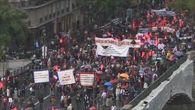 Crowd of people on strike