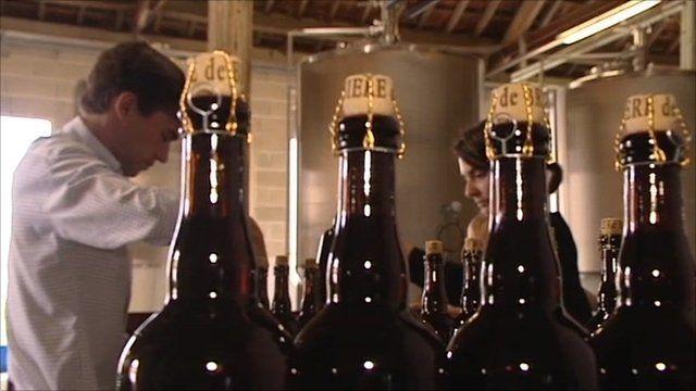 Hugues Rabourdin and beer bottles