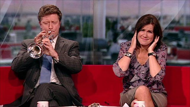 Charlie and Susanna play the trumpet
