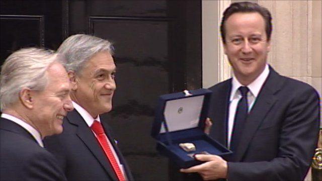 Chile's president Sebastian Piñera and PM David Cameron