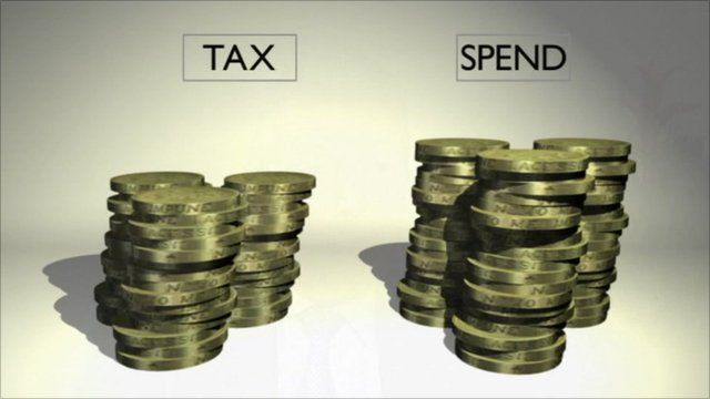 Pound coins in tax and spend piles