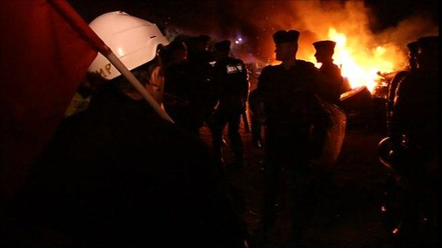 French police break up a protest at a fuel depot blockade