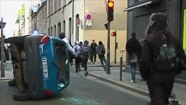 Overturned car in Lyon