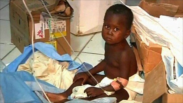 Child in hospital attached to drip